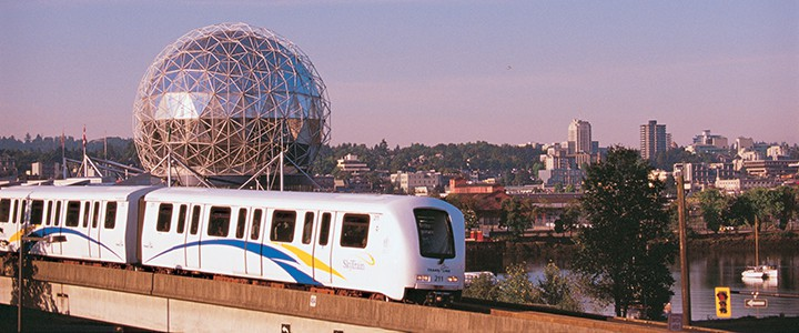 Vancouver SkyTrain at sunset