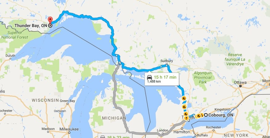 Map of route from Cobourg to Thunder Bay
